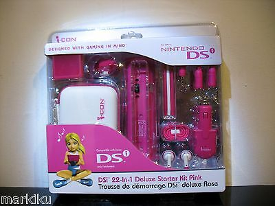 New  Nintendo DSI 22 in 1 Deluxe Starter kit  I-Con icon Pink