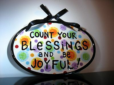 New Our Name is Mud Ceramic plaque w/ ribbon Count your blessings and be joyful