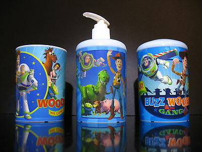New Disney Toy Story Toiletry set Cup Tooth brush holder soap dispenser plastic