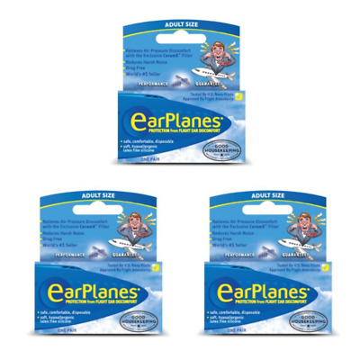 EarPlanes Silicone Earplugs (Adults, 12 Years+)  x 2 Pairs