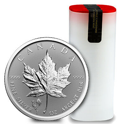 2017 $5 1 oz. Reverse Proof Silver Maple Leaf Rooster Privy Roll of 25 SKU43351