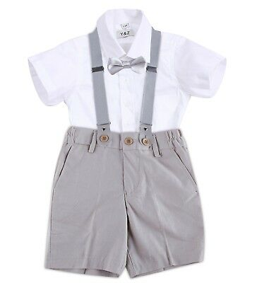 Page Boy Christening Formal Wedding Braces Linen Blend Set Short Suit 3 Ms-6 Yrs
