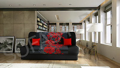 New Lukasz Fabric Sofa Bed With Storage Function