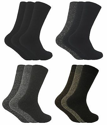 3 Pack Men Thick Non Binding Loose Wide Top Wool Blend Thermal Hiking Boot Socks