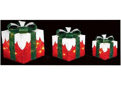 A Set Of 3 Red & Green Christmas Lit Parcels Xmas Indoor Outdoor Decorations