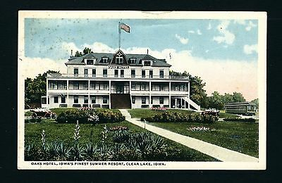 Clear Lake Iowa IA 1915 Oaks Hotel Front, Floral Gardens, Interurban Trolley Car