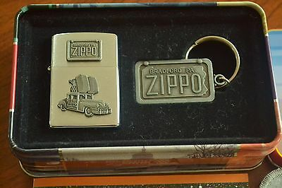 ZIPPO Car Lighter with Collector's Tin & Key Ring, XIV/1998, Sealed, M1261