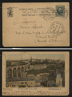 Luxembourg  post  card to  US   1899             KL0212