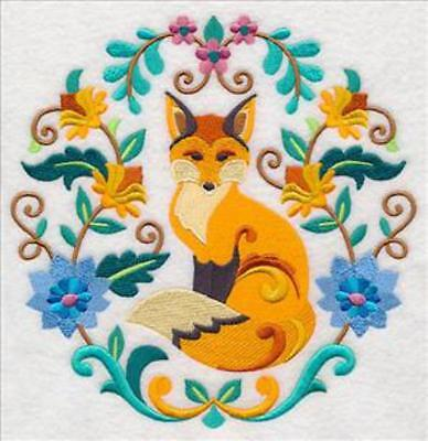 Embroidered Quilt Block or Cushion Panel 'Sweet Autumn Fox' 100% Cotton Fabric
