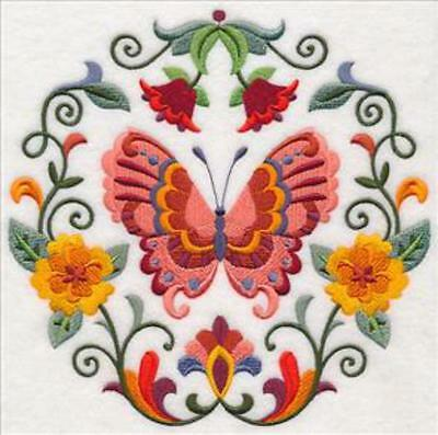 Embroidered Quilt Block or Cushion Panel 'Sweet Symmetry Butterfly; 100% cotton