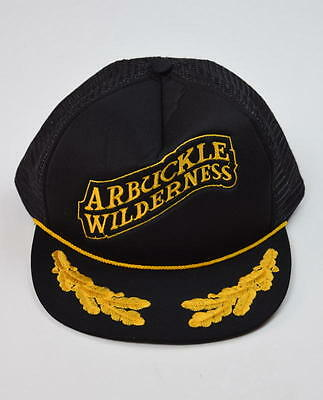 Vtg Black Gold ARBUCKLE WILDERNESS Mesh Trucker Hat Ball Cap Snap Back Boy Kids