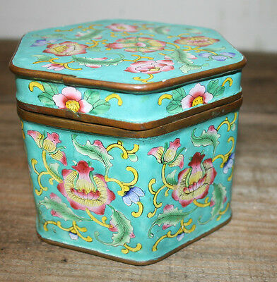 Vintage Chinese Enamel Box Tea Caddy with lid  Turquoise Ground