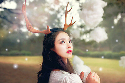Handmade Fairy mi-lu Elk Deer Ear headband Mori Girl Halloween Cosplay Prop