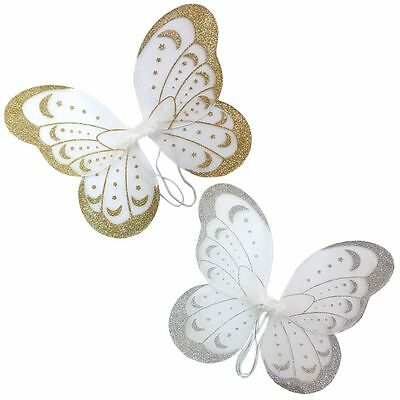 NEW Girls Ladies Butterfly Fairy Wings Gold Silver Fancy Dress Dressing Up Party
