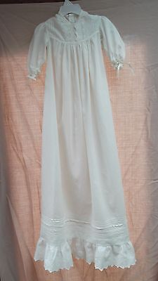 "vtg antique baby doll christening long 40"" embroid pintuck dress gown cotton"