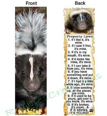 SKUNK RULES BOOKMARK Book Mark Card FUN Property Laws Pet Animal ART Figurine