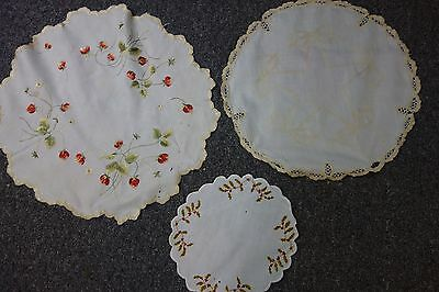 Victorian Embroidered Doilies-3 pcs- Holly,Strawberries,Star & Bows-LOVELY-SALE