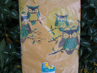 Vtg Kresge Halloween Paper Tablecloth OWLS in Tree FULL MOON  / MIP 1.5 x 2 2/3""