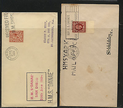 Great  Britain  2 ship covers  York and Danae   12543       RLL0730