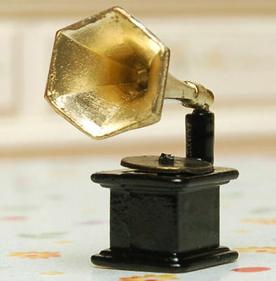 FD3455 Miniature Dollhouse Retro Vintage Phonograph Horn Turntable Model 1:12
