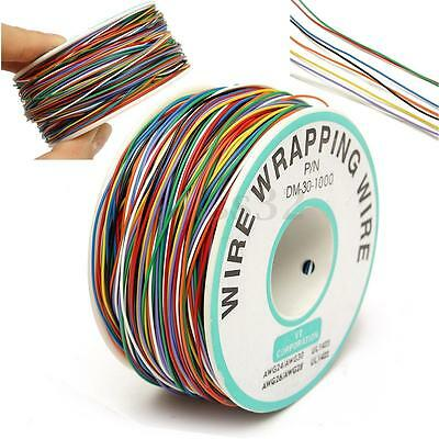 250M Plastic P/N B-30-1000 30AWG 8-Wire Colored Insulation Wrapping Cable Reel