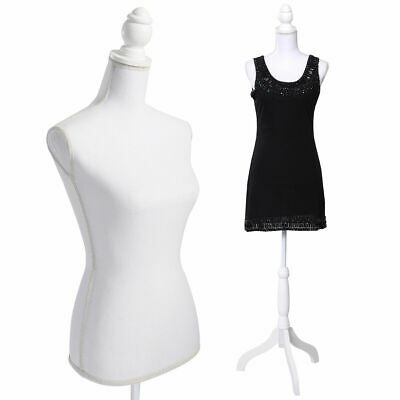 New White Female Mannequin Torso Dress Form Display W/ WhiteTripod Stand