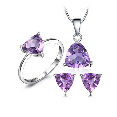 JewelryPalace Natural Purple Amethyst Jewelry Sets Solid 925 Sterling Silver