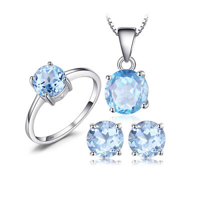 JewelryPalace Round 6ct Natural Sky Blue Topaz Jewelry Sets 925 Sterling Silver