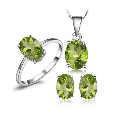 JewelryPalace Oval 4.9ct Genuine Green Peridot Jewelry Sets 925 Sterling Silver