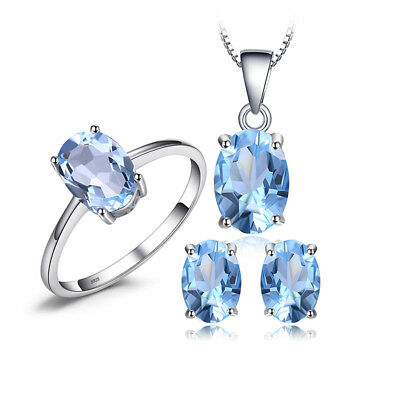 JewelryPalace Oval 5.5ct Genuine Sky Blue Topaz Jewelry Sets 925 Sterling Silver