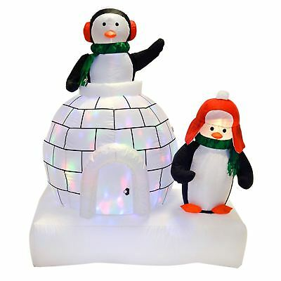 Inflatable Penguins And Igloo Christmas Decoration Garden Outdoor Disco Lights