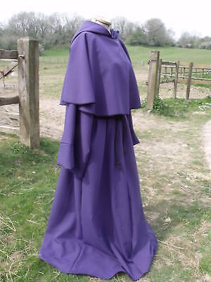 Purple Monk Robe With Cowl And Hood In Polyester