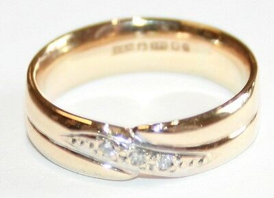 Lovely Quality 9ct Gold Diamond Twin Banded Kidd Wedding Ring Size J