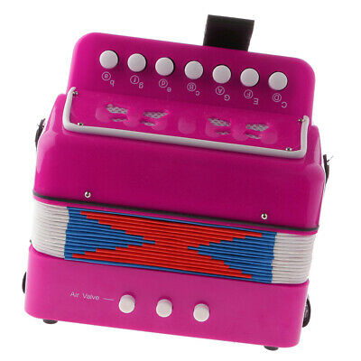 High Quality Children Kids 7 Button Accordion Musical Instrument Toy Fuschia