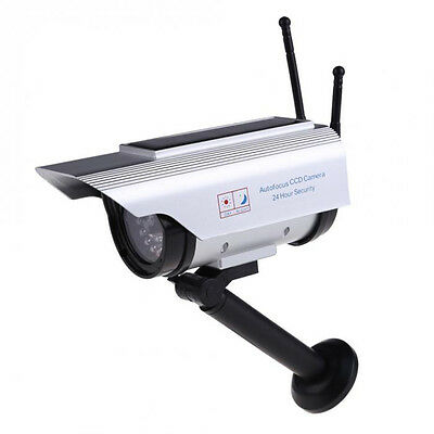 Solar Powered Fake Dummy Outdoor Security Home CCTV Camera Flashing LED light