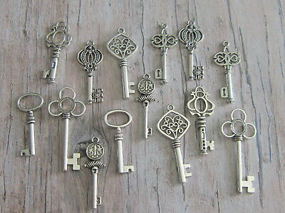 14 antiqued silver tone skeleton keys wedding vintage style  pendants charms mix