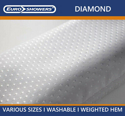 White Diamond Fabric Shower Curtains -Weighted Hem- Extra Large Wide Long Short