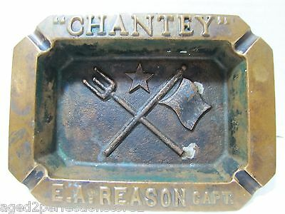 Antique Bronze 'Chantey' E.A. Reason Capt Ship Boat Ash Tray Flag Trident Spear