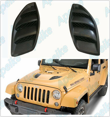 2PCS Hood 10th Power Dome Louvers Engine Inlet Vents For 07-17 Jeep JK Wrangler