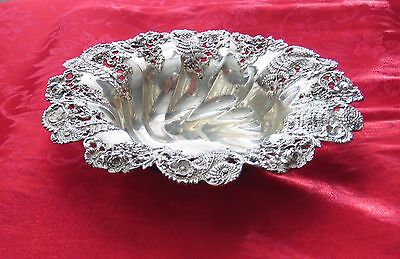 Sterling Silver Dominick & Haff  1890's  Art Nouveau  FLOWERS + FERNS  Bowl 10""