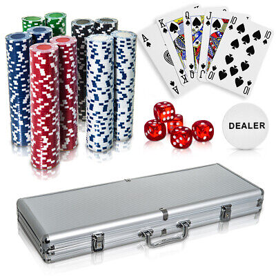 Professional 500Pc Casino Card Poker Set With Case Play Deal Full Poker Deck