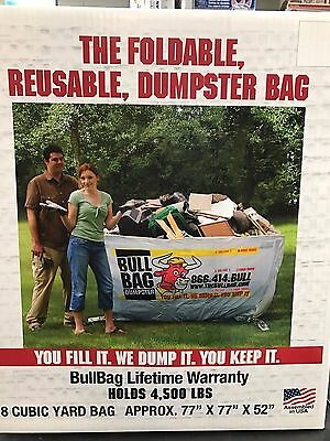 The Bull Bag Foldable Reusable Dumpster Bag 77 x 77 x 52-inches Holds 4500-LBS