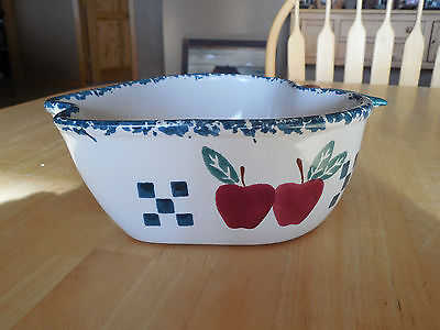 CHAPARRAL Pottery USA APPLE Serving Bowl 8x4 approx 1.5 Qt Green Red