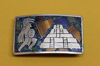 """Vintage Handmade Mexican Belt Buckle 3 1/2"""" x 2"""" Silver? Turquoise?"""