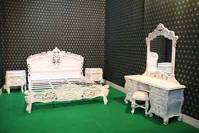 French baroque Rococo 6 Pieces Ivory glaze bed set wth King 5'bed frame