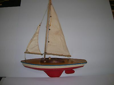 "Pond Sail Boat , vintage , Wooden deck / cabin & plastic hull 13""long lot # 9604"