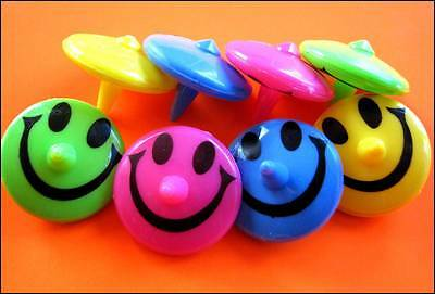 Bulk Lot x 5 Kids Smiley Face Spinning Tops Mixed Colors Party Favor Toys NEW