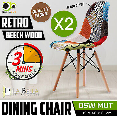 2 x Retro Replica Eames Eiffel DSW Fabric Beech Dining Chair Cafe Kitchen