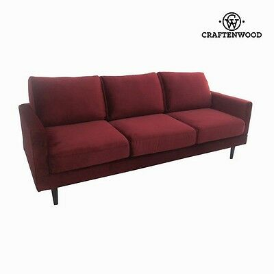 Retro Burgundy 3 Seats Wood Sofa Red Velvet - NEW 2017 Collection By CraftenWood