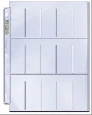 Ultra Pro Platinum 3-hole 15-Pocket Pages for Tobacco Cards x 10